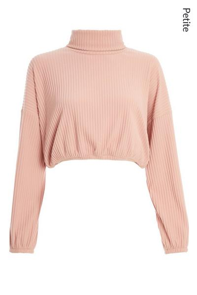 Petite Pink Ribbed Crop Top